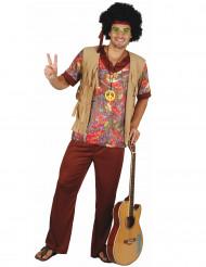 Déguisement hippie motif rouge homme