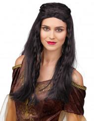 Perruque médiévale noire femme