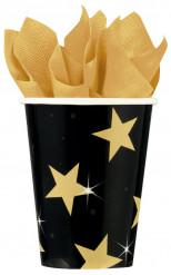 Gobelets noir et or étoilée