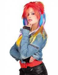 Perruque multicolore punk femme