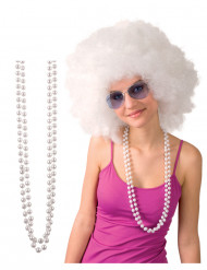 Collier en perles blanches adulte