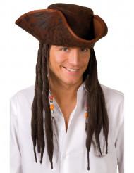 Chapeau tricorne pirate marron adulte