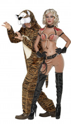 Déguisement couple dompteur de tigre femme et son felin
