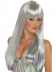 Perruque longue argentée femme
