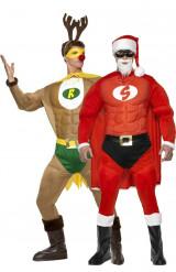 Déguisement couple Super renne et super père Noël musclés