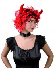 Perruque diablesse femme avec cornes Halloween