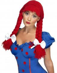 Perruque tressée rouge femme