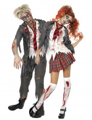 Déguisements de couple d'écoliers zombies Halloween