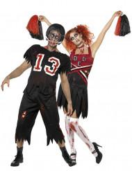 Déguisements de couple de footballeur américain et pom-pom girl zombies Halloween