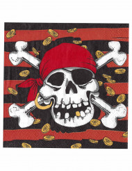 20 Serviettes en papier Pirate 33 x 33 cm