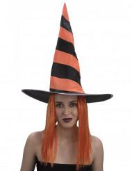 Chapeau avec perruque sorcière femme Halloween