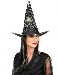 Chapeau avec perruque sorcière noire et blanche femme Halloween