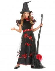 Déguisement sorcière roses rouge fille