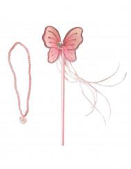 Baguette et collier de princesse rose