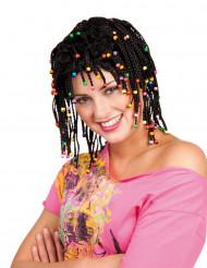 Perruque rasta noire avec perles femme