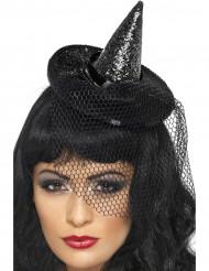 Mini chapeau pointu noir avec voile femme