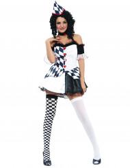 Déguisement arlequin noir et blanc sexy femme