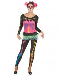 Déguisement squelette coloré femme Halloween