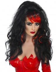 Perruque noire avec frange rouge femme