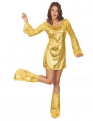 Déguisment disco doré femme