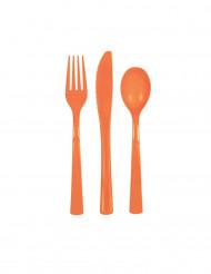 Couverts en plastique orange