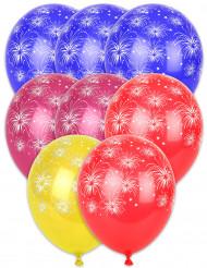 8 Ballons imprimés feux d´artifice