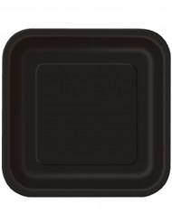 14 Grandes assiettes en carton noires 23 cm