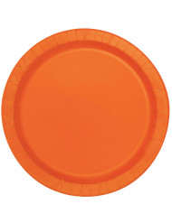 16 Grandes assiettes orange en carton 22 cm