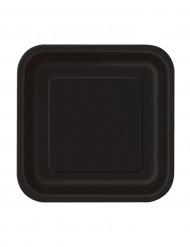 16 Petites assiettes noires en carton 17cm