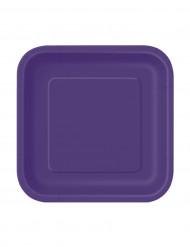 16 Petites assiettes  violettes carrées en carton 18 cm