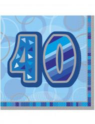 16 Serviettes en papier Age 40 ans bleues 33 x 33 cm