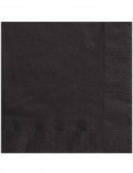 50 Serviettes noires 33 x 33 cm