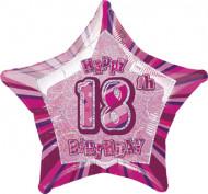 Ballon étoile rose Age 18 ans