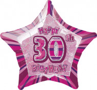 Ballon étoile rose Age 30 ans