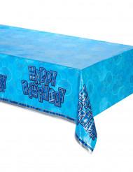 Nappe pliée en plastique Happy Birthday bleu
