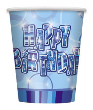 8 gobelets bleus Happy Birthday