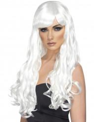Perruque longue ondulée blanche femme