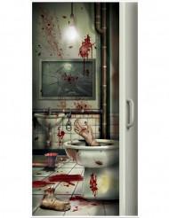 Décoration de porte toilette en sang Halloween