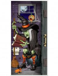 Décoration de porte sorcière au toilette Halloween