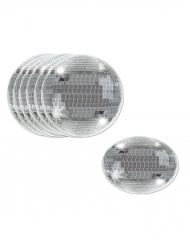 Sous-verres boules disco argentées