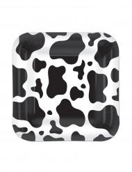 Assiettes carrées imprimées peau de vache 17,8 cm