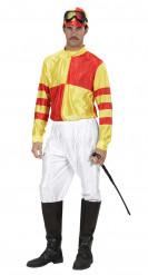 Déguisement jockey homme jaune et rouge