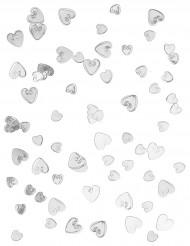 Confettis coeurs argentés relief