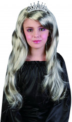 Perruque argentée princesse fille