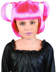 Perruque à couettes rose fille