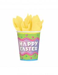 8 Gobelets carton Happy Easter Pâques