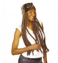 Perruque rasta marron et bandana marron adulte