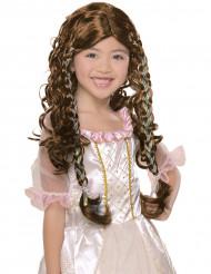 Perruque princesse châtain fille