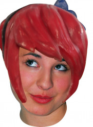 Perruque latex manga carré plongeant rouge adulte