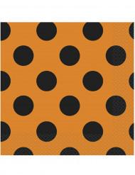 16 Serviettes en papier Orange flashy à pois noirs 33 x 33 cm